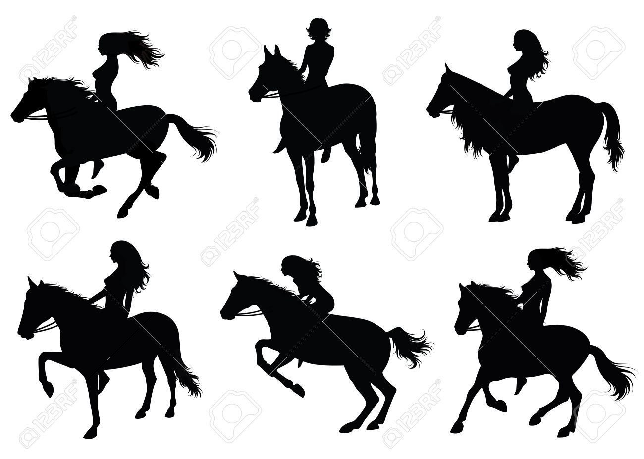 Horse Jumping: Set Of A Silhouette Of A Woman Riding A Horse