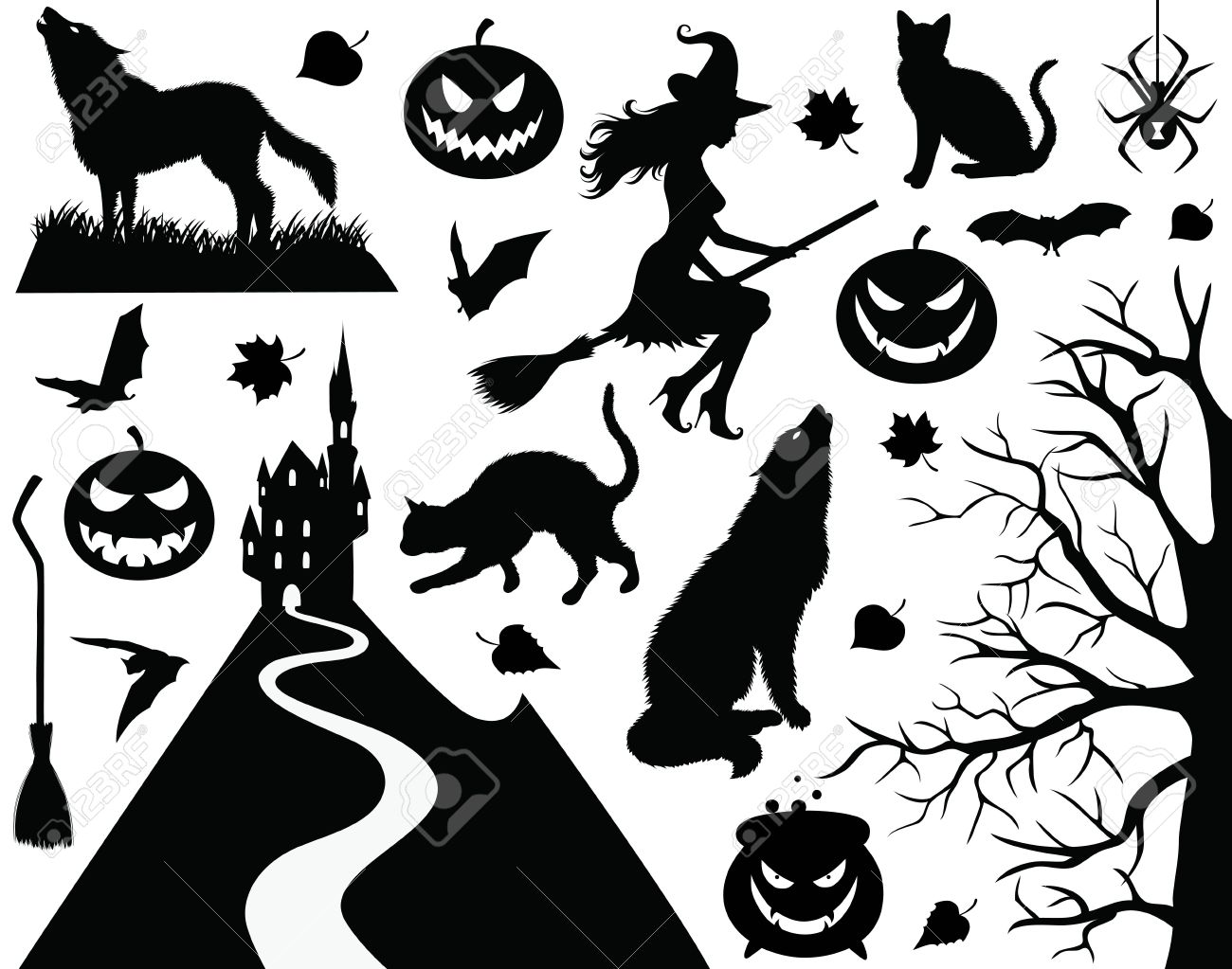 Collection Of A Halloween Silhouettes. Royalty Free Cliparts ...