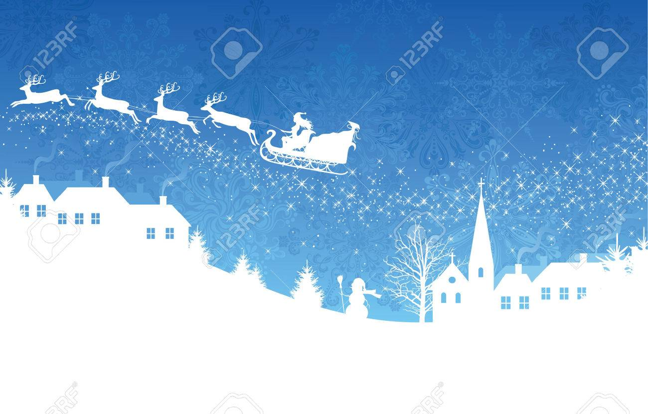 Silhouette of a woman santa on a sledge harnessed by magic deers flying over a village on the blue  background. Stock Vector - 8301789