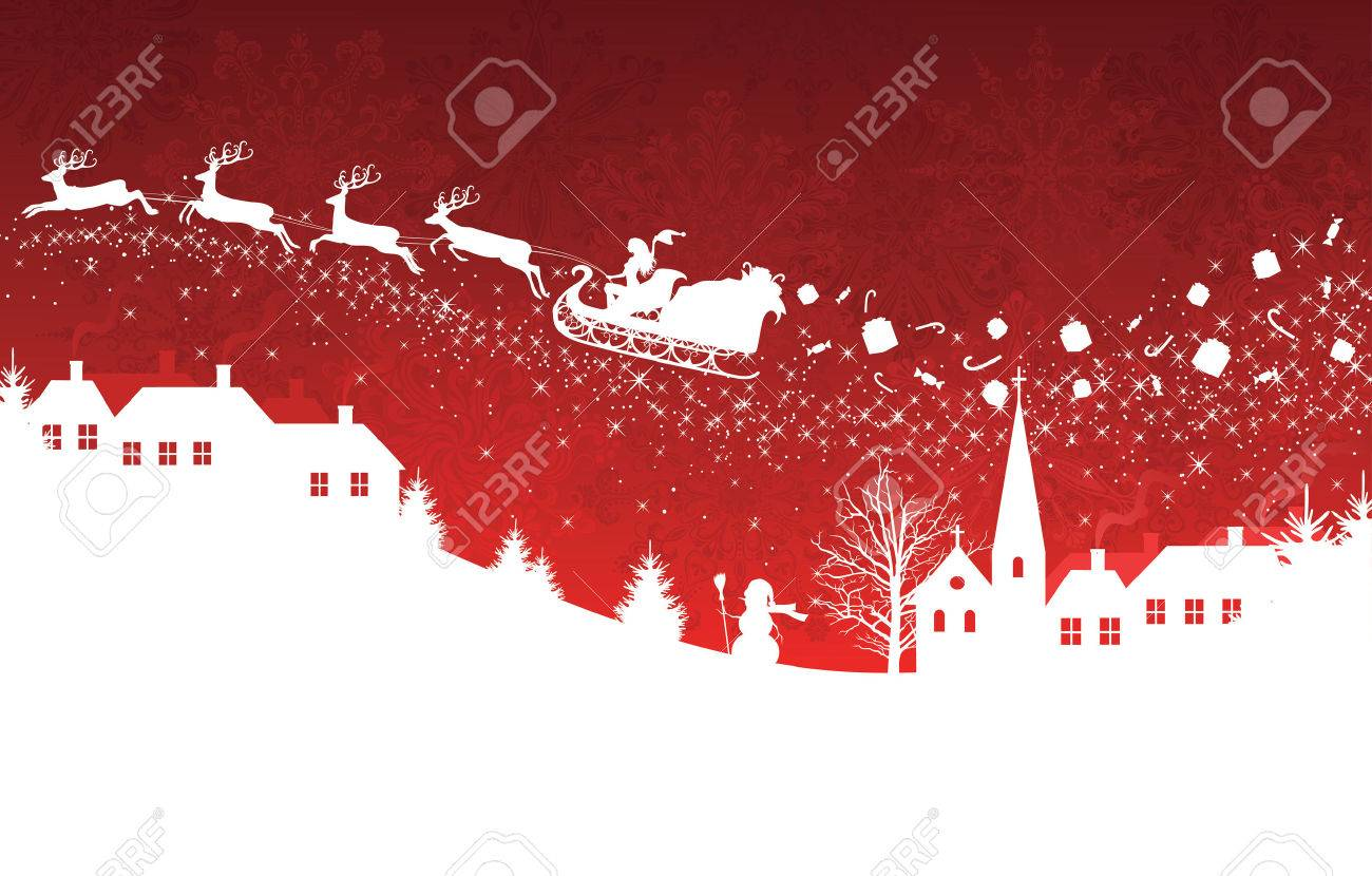 Silhouette of a woman santa on a sledge harnessed by magic deers flying over a village with gifts flying off on the red  background. Stock Vector - 8588505