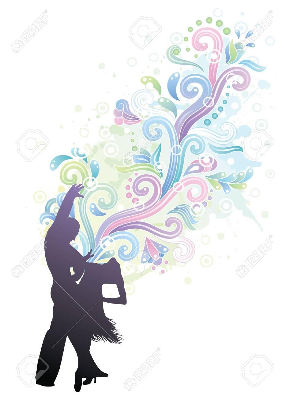 Couple dancing latino. Stock Vector - 9835425