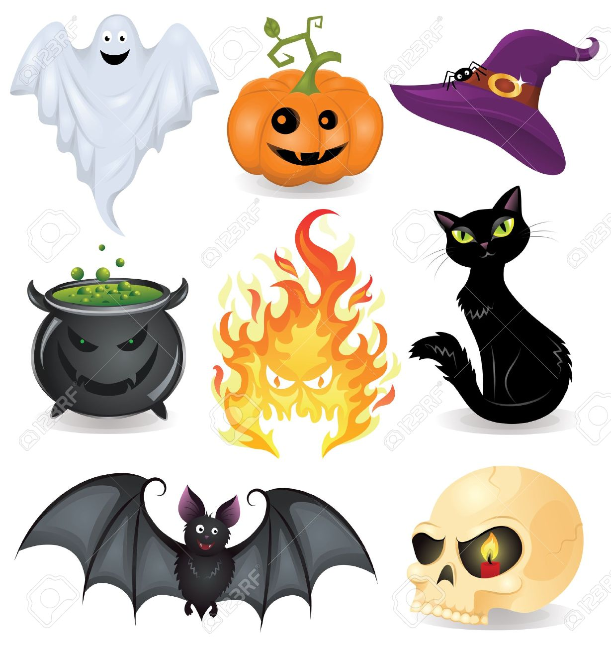 Set Of Halloween Icons. Royalty Free Cliparts, Vectors, And Stock ...