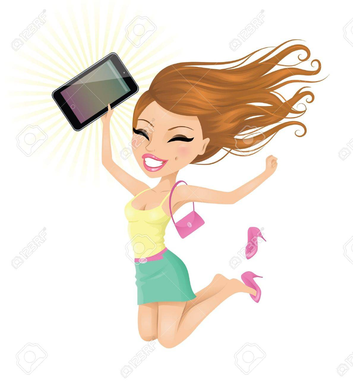Woman happy with her touch pad. Stock Vector - 15352661