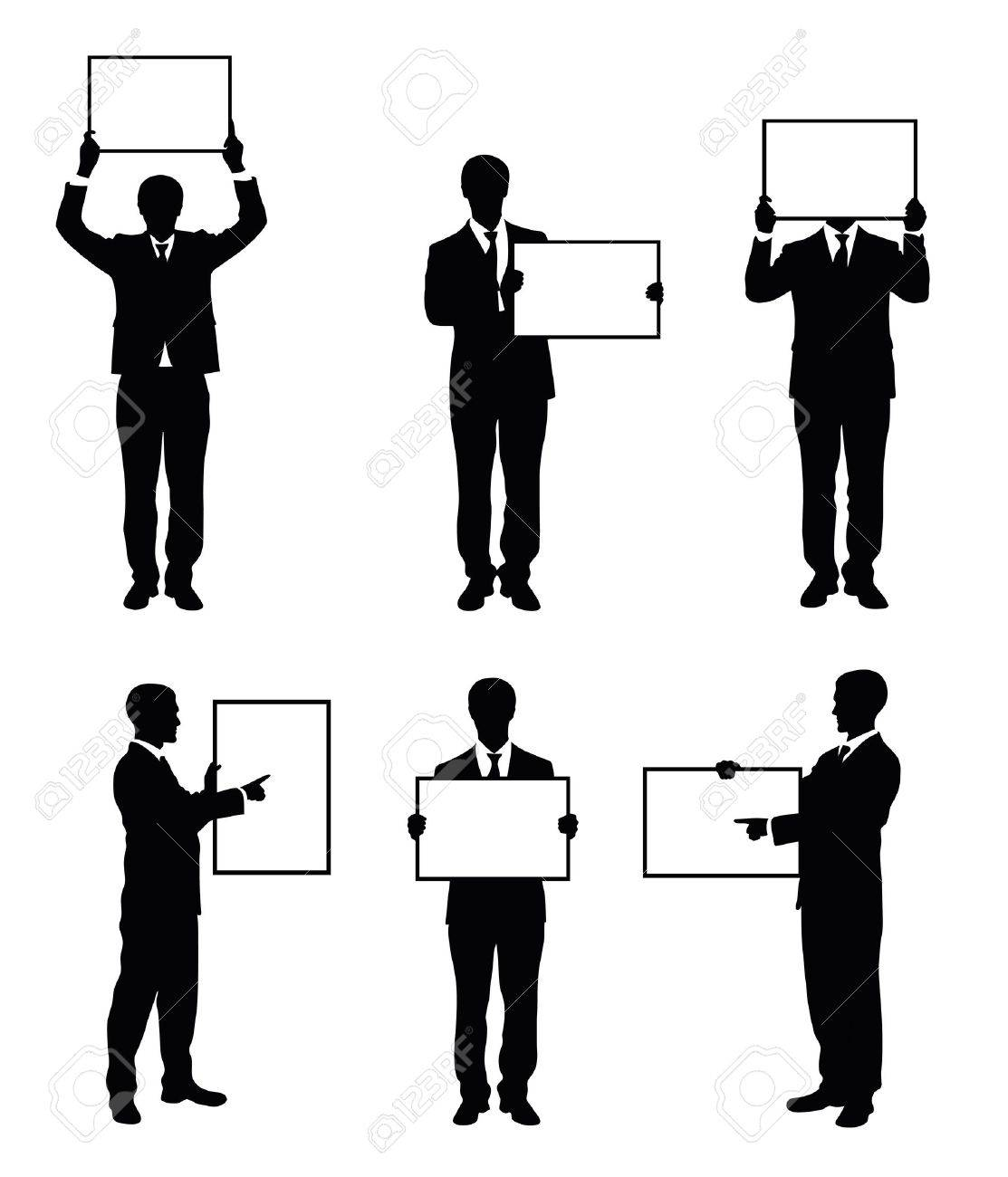 Set of silhouettes of a businessman holding a board. Stock Vector - 15399406