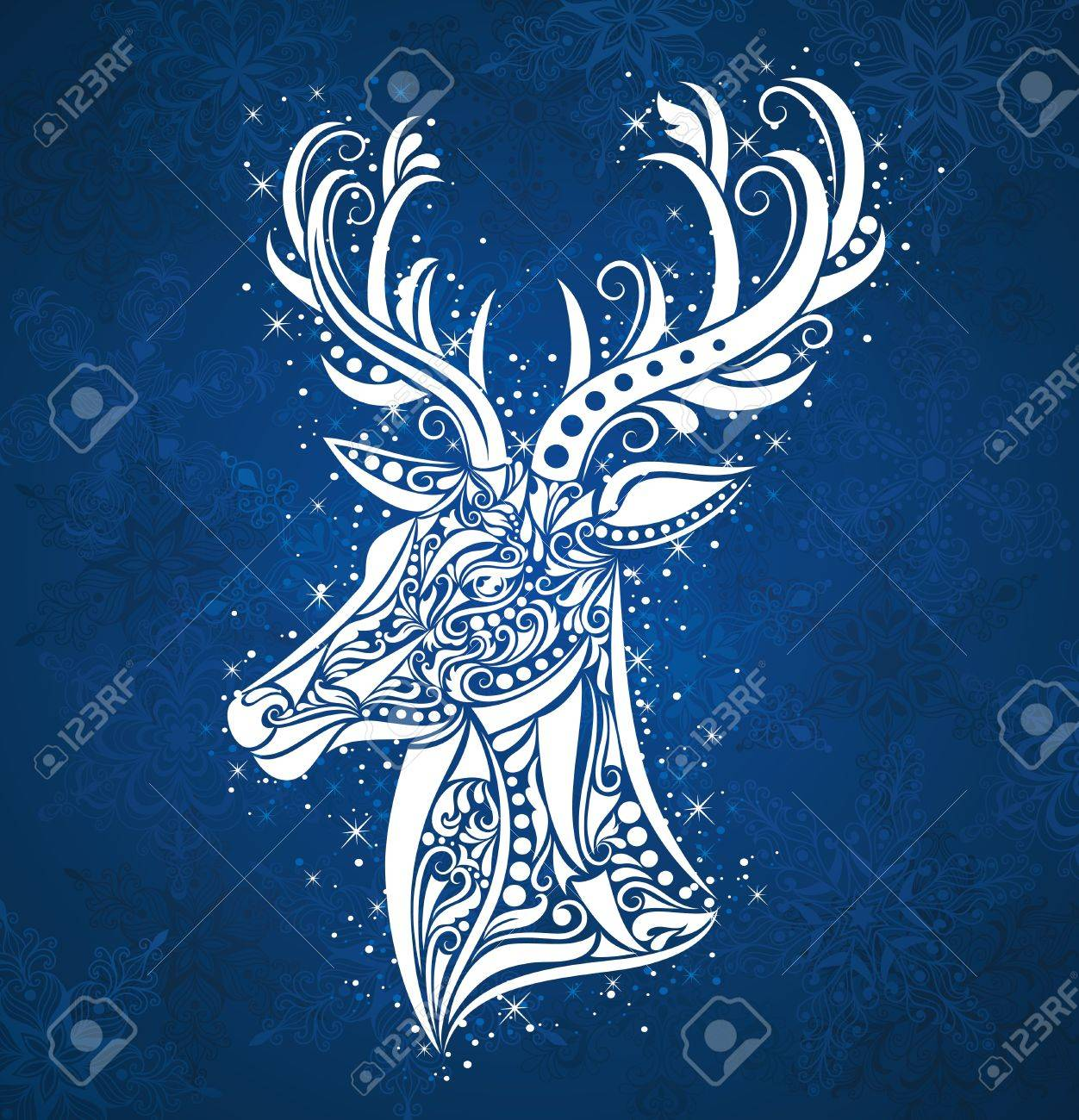 Pattern in a shape of a deer on the blue background. - 16256270