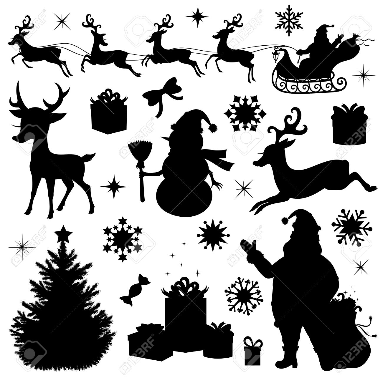 Christmas Silhouette.Collection Of A Christmas Silhouettes