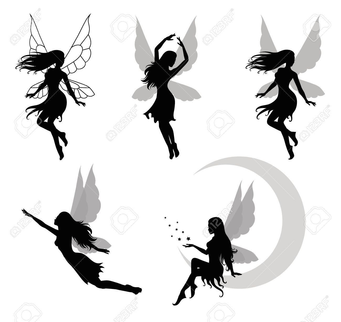 Collections of vector silhouettes of a fairy Stock Vector - 24535924