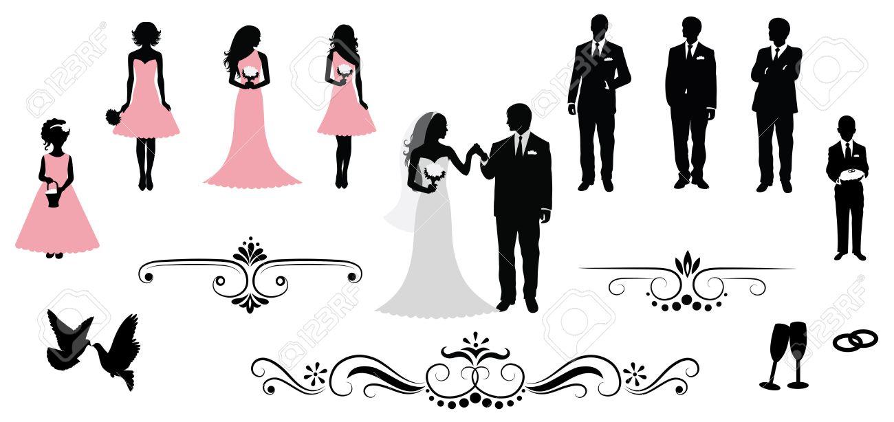 ベクトル結婚式シルエットのセット。