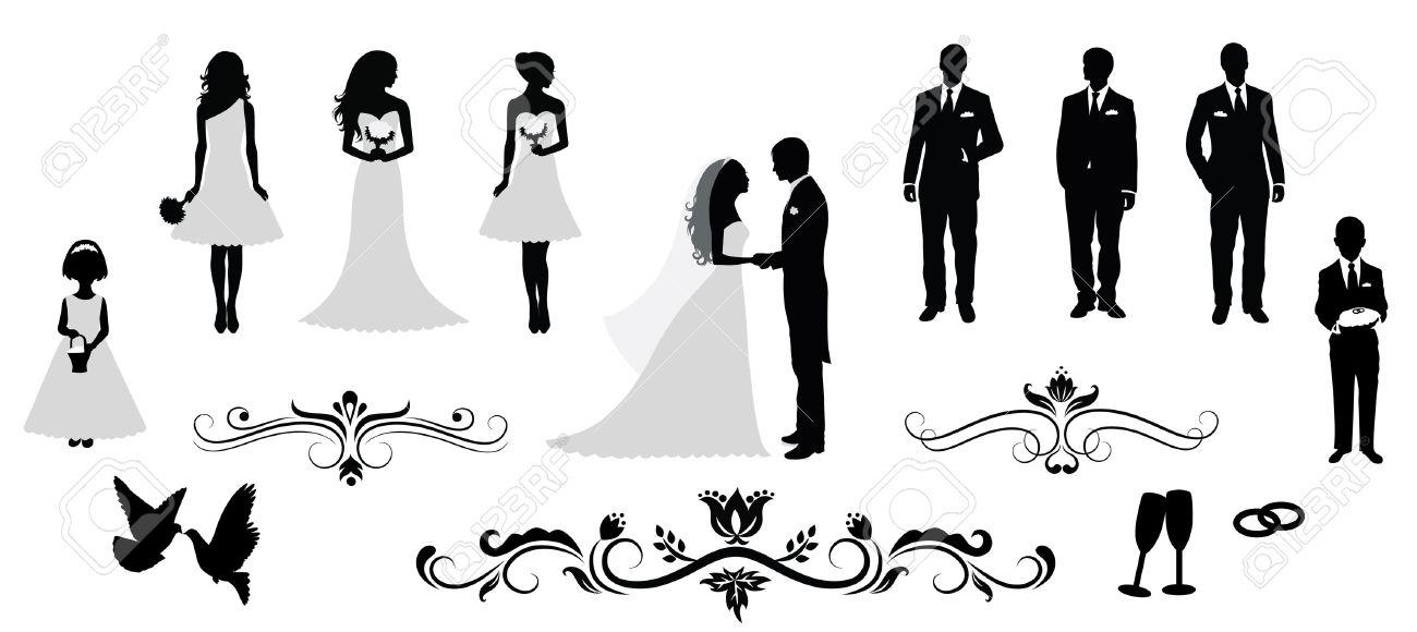 Set of vector wedding silhouettes. Stock Vector - 44257671