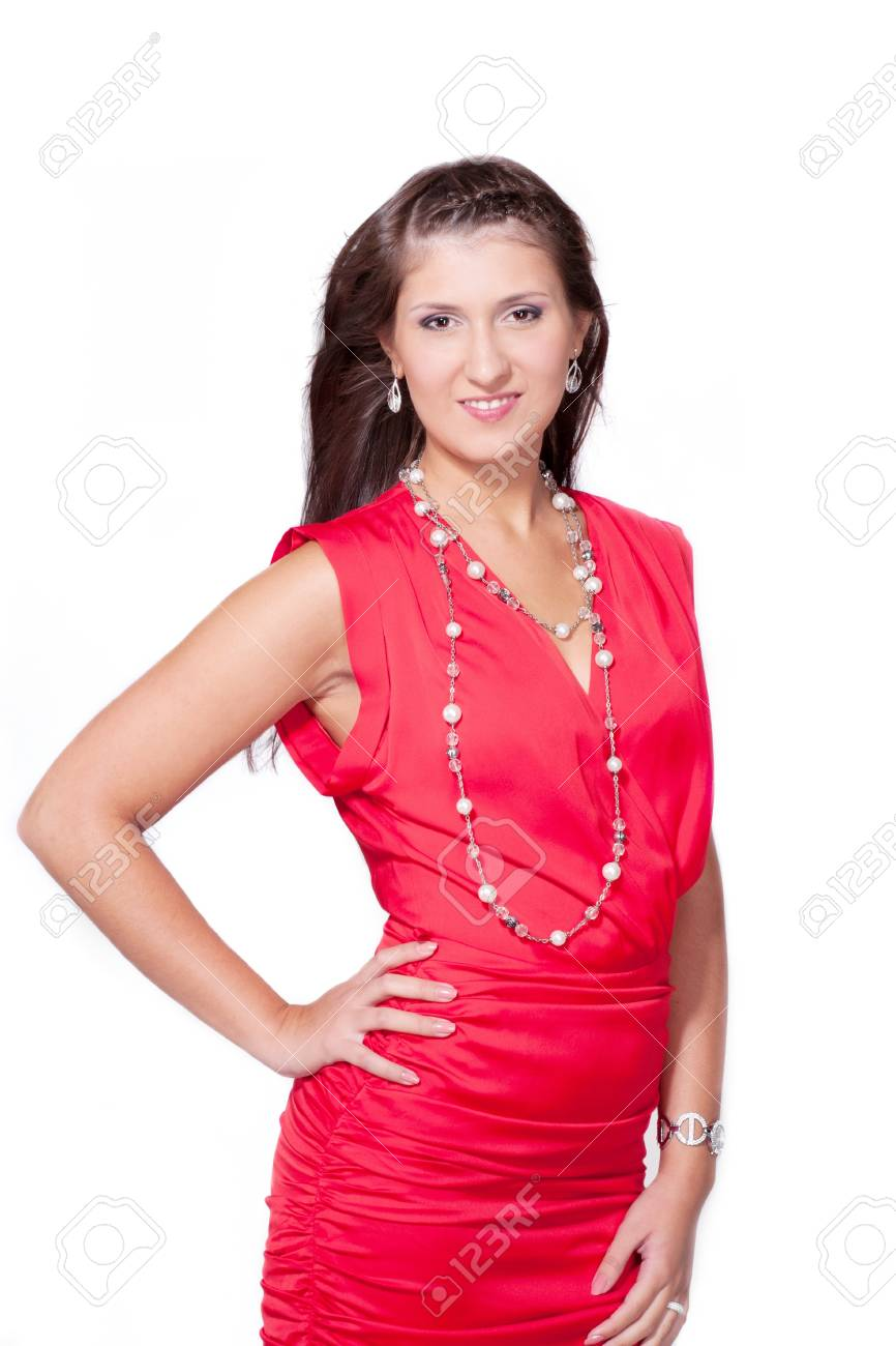 Sexy Lady In Red Dress Stock Photo 15005736