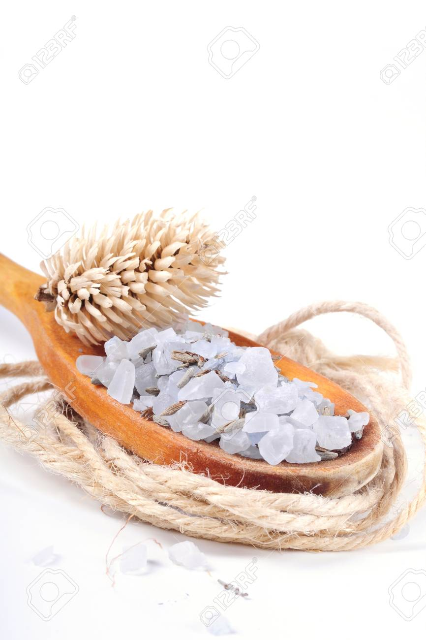 Salt in a wooden spoon Stock Photo - 18486433