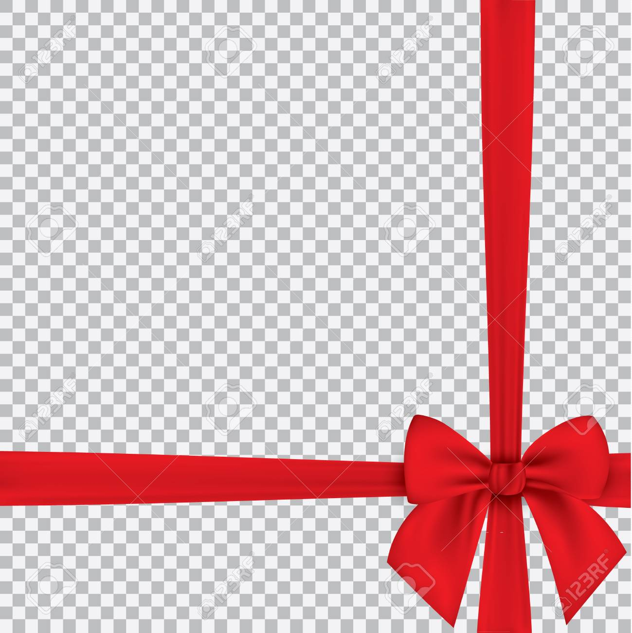 Realistic red bow and ribbon isolated on transparent background