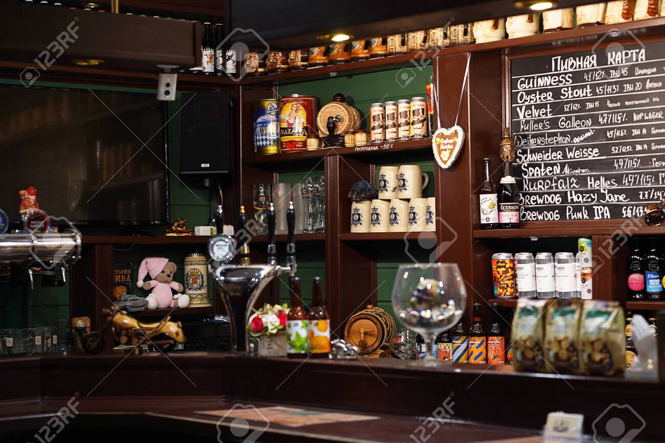 This is interior of modern pub for drinking and socializing, beer bar - 146467829
