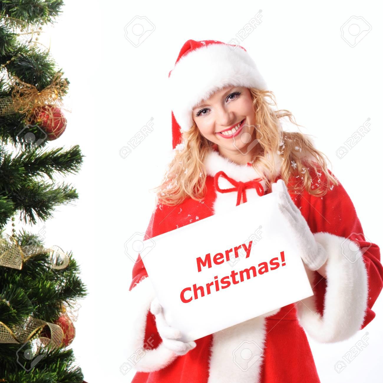 Fröhlich Santa Mädchen Halten Das Leere Plakat Mit Text Kopieren ...