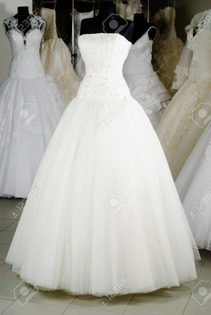photo wedding dress shop with many objects shop wedding dresses Stock Photo Wedding dress shop with many objects