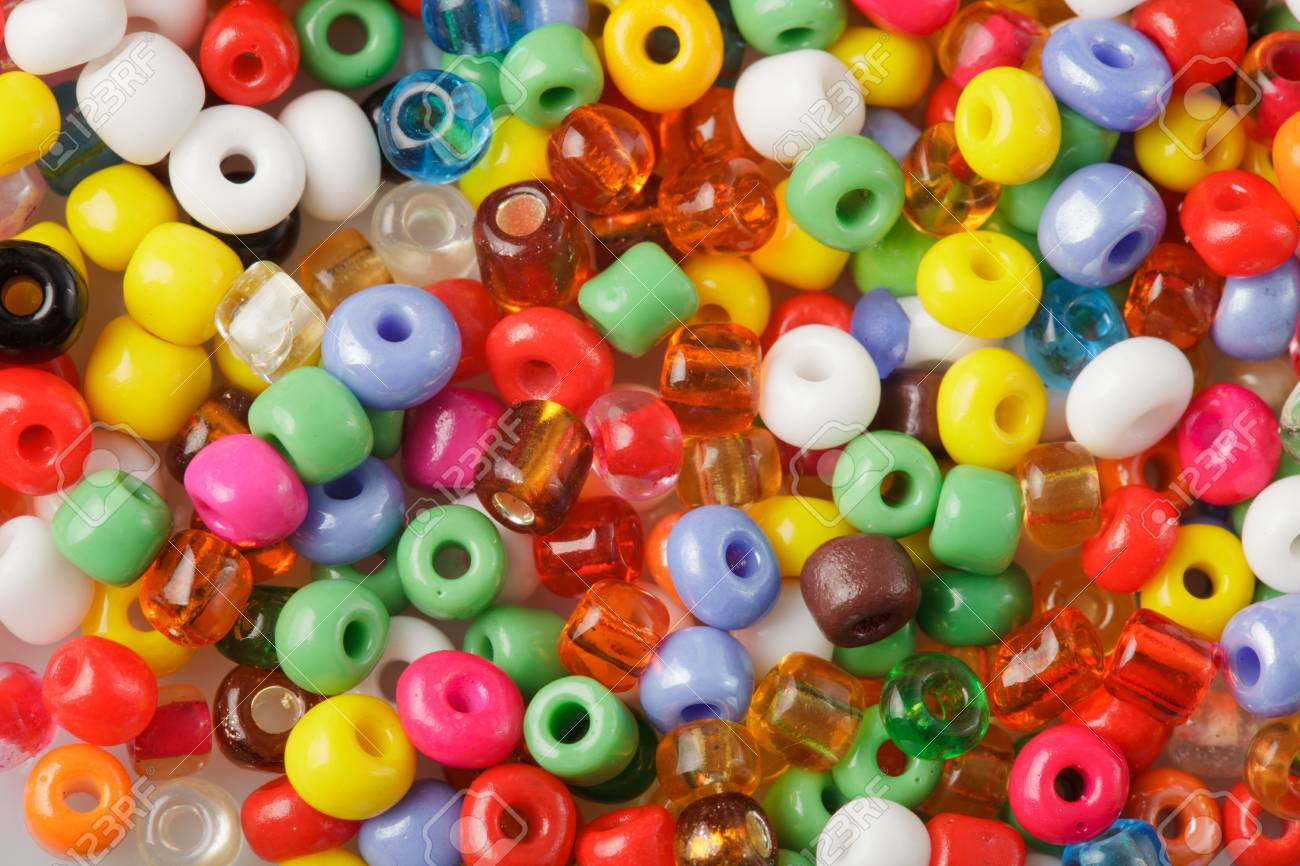 abstract background of close up multi colored beads Stock Photo - 9970256