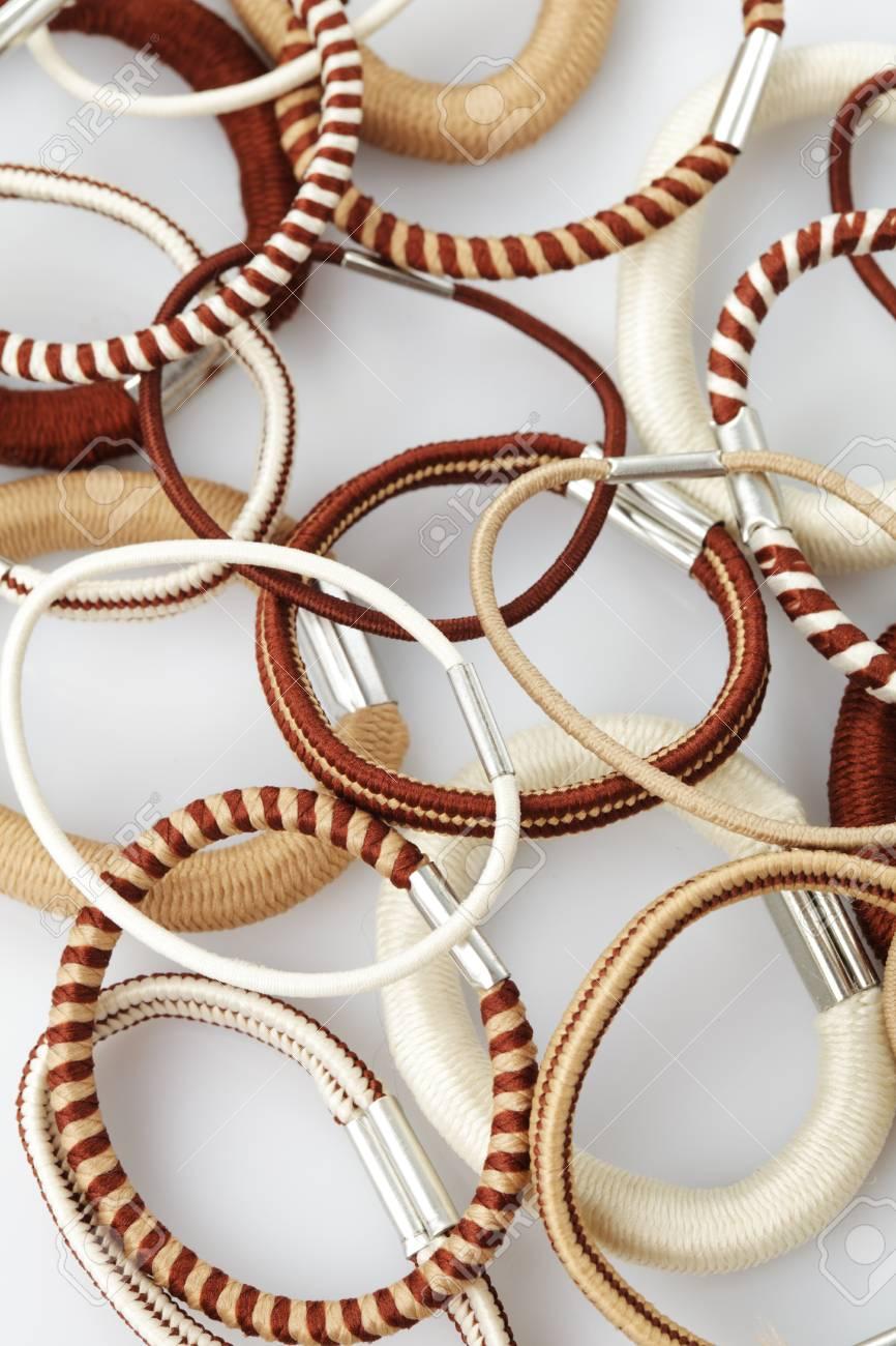 Various elastic band isolated on white background Stock Photo - 10093369