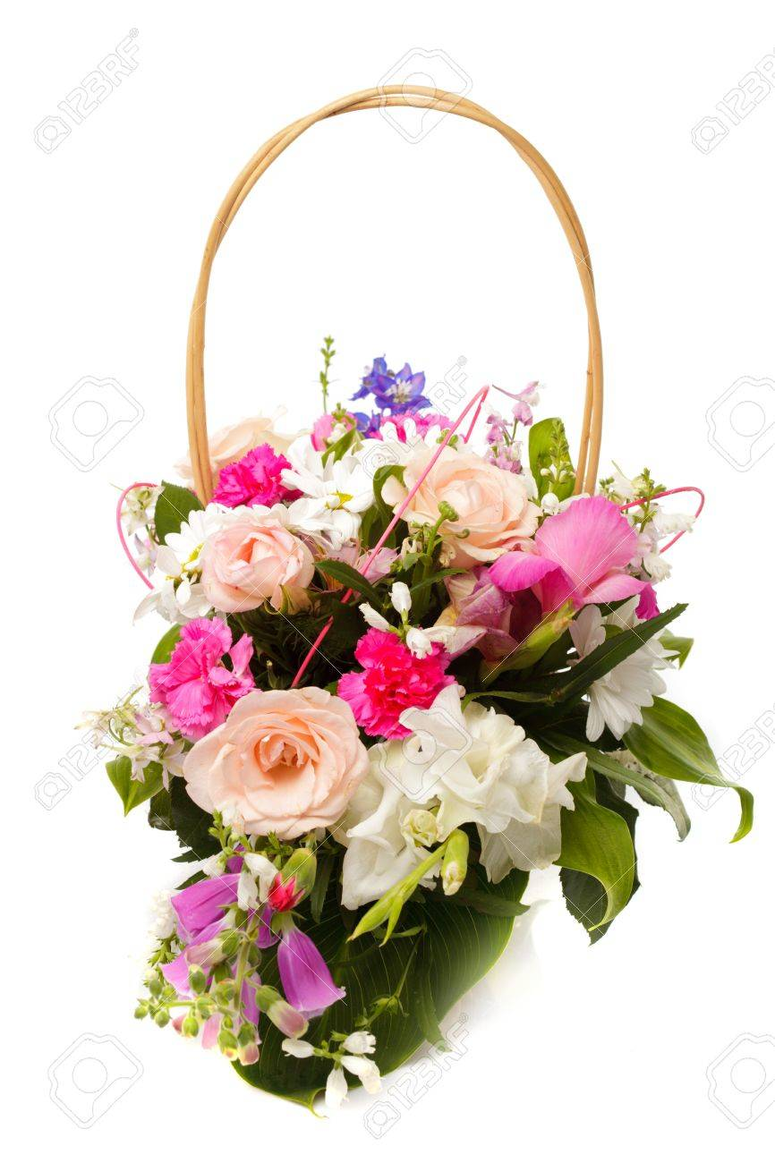 Bouquet From Different Pink Seasonal Flowers Of September In Stock
