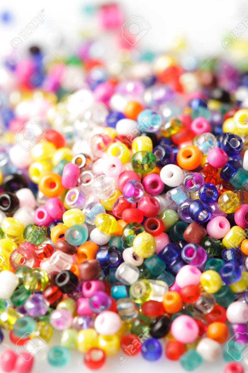 abstract background of close up multi colored beads - 10823552