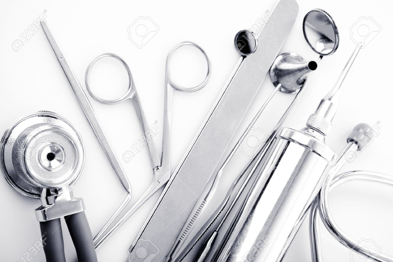 Medical instruments for ENT doctor on white Stock Photo - 12320702