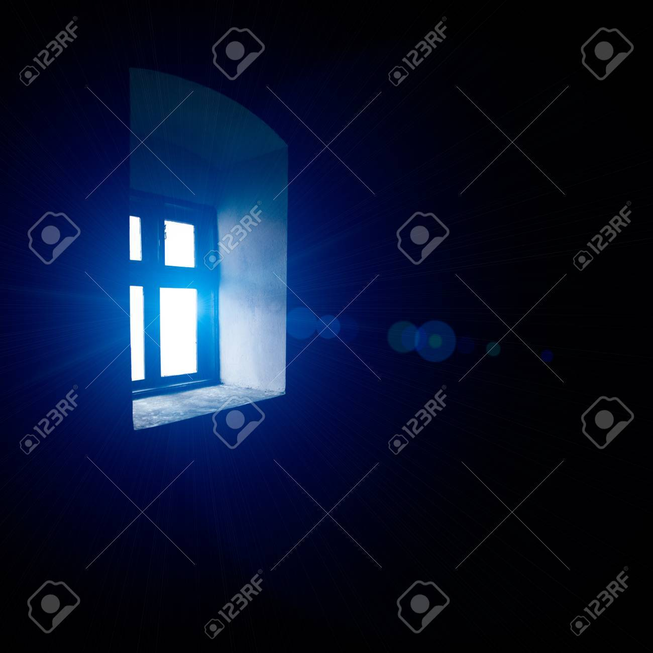 Vintage window with blue light, indoors view Stock Photo - 15320912