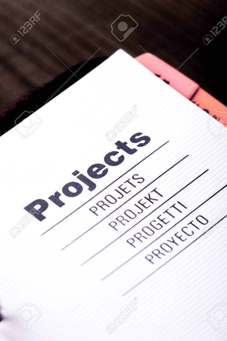 The first page of projects organizer closeup Stock Photo - 16396862