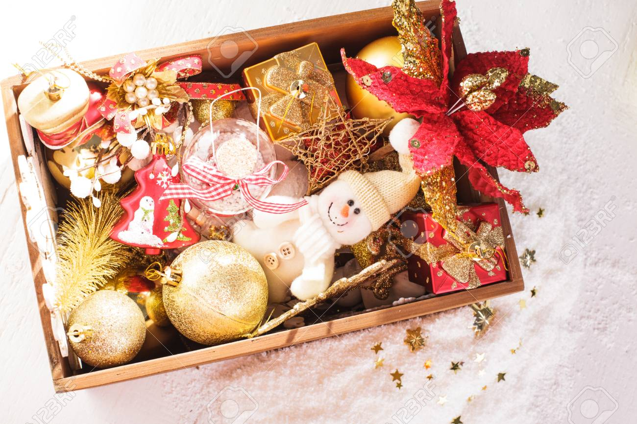 Wood box with christmas decoration, preparation for holidays - 16506723