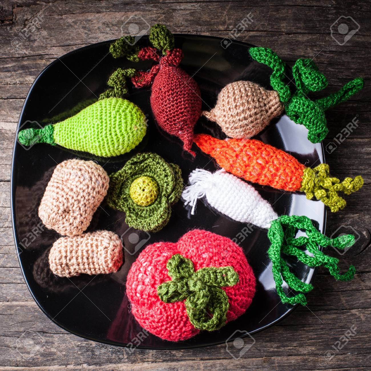 Crochet Vegetables On A Plate Eco Toys For Children And Kitchen