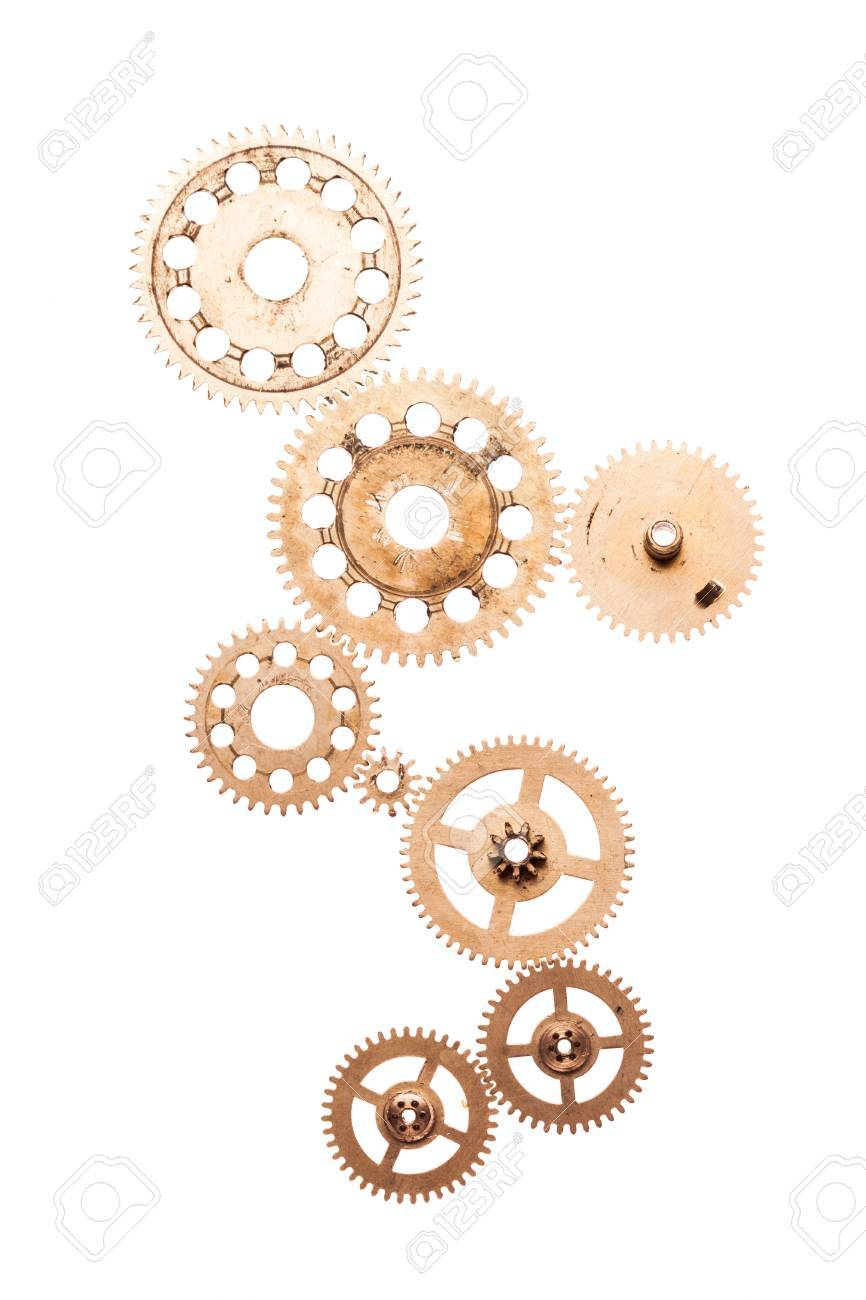 Steampunk Details Isolated On White. Mechanical Clocks Details ...