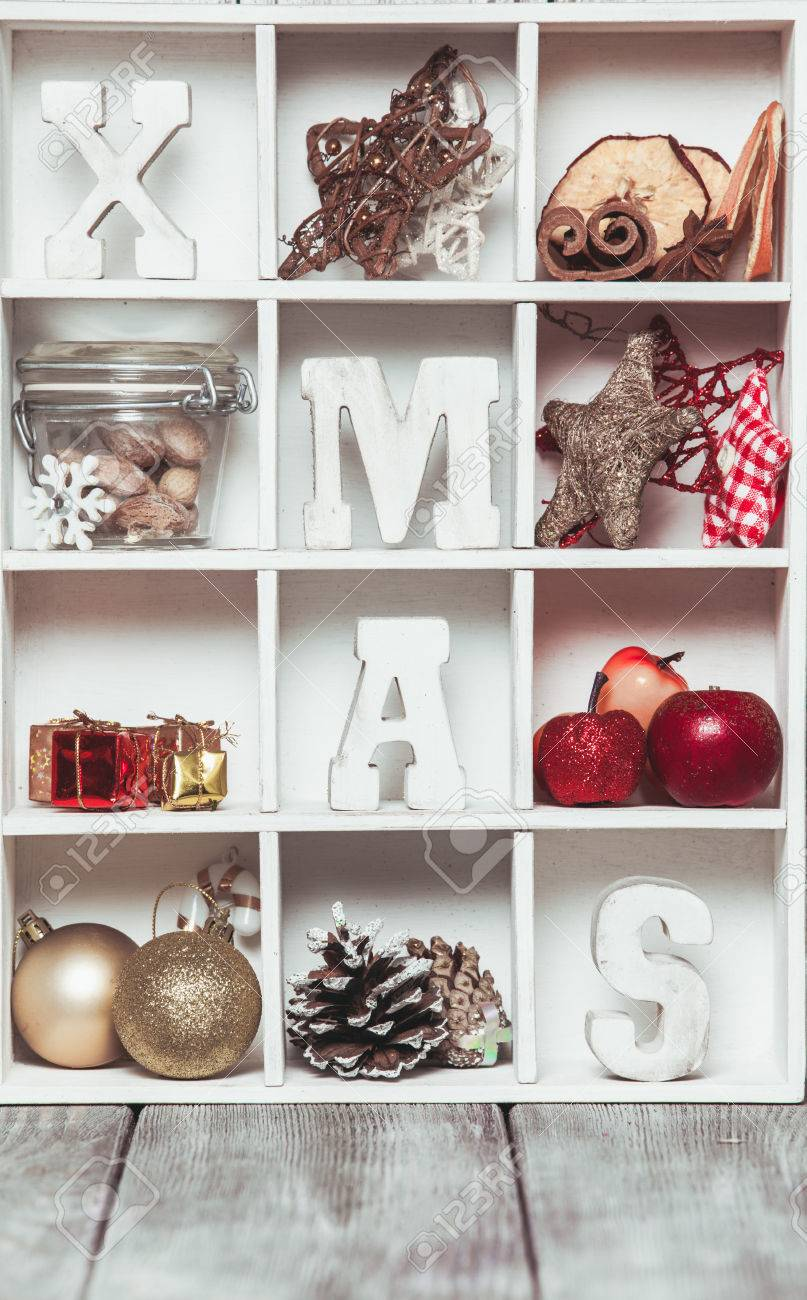 Christmas Decoration In A Wooden Box Cozy Holiday Home Wood Letters Xmas