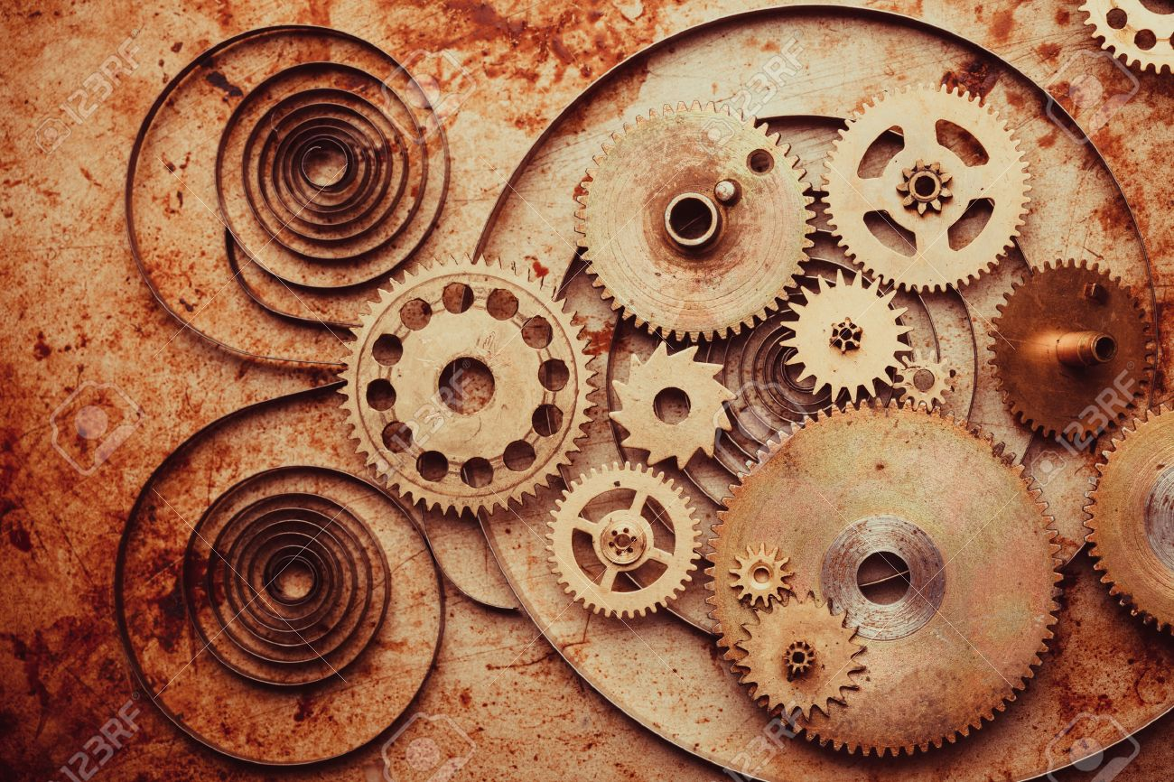 Steampunk Background From Mechanical Clocks Details Over Old.. Stock ...