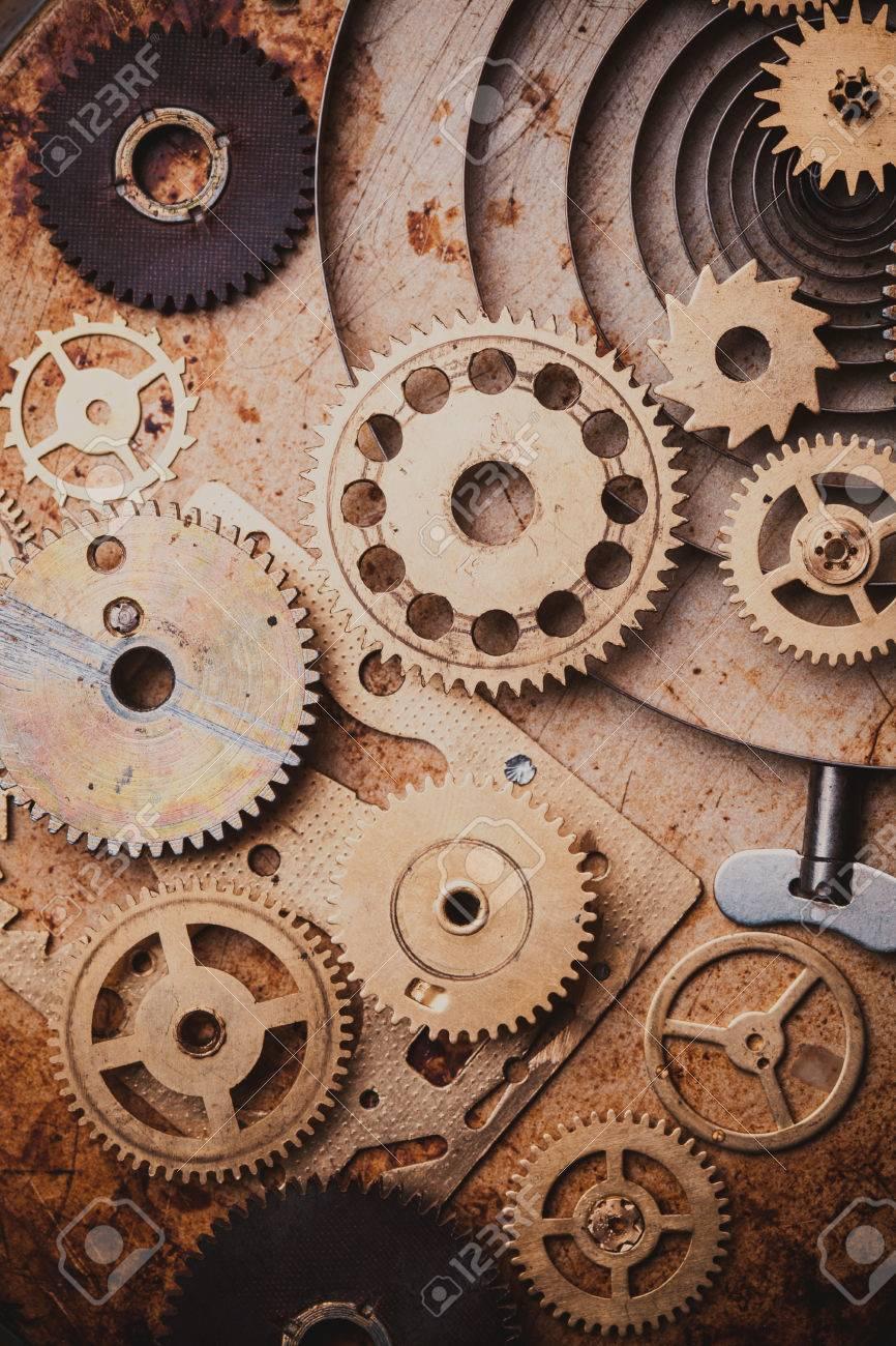 banque dimages steampunk fond des horloges mcaniques dtails sur fond vieux mtal intrieur de lhorloge engrenages