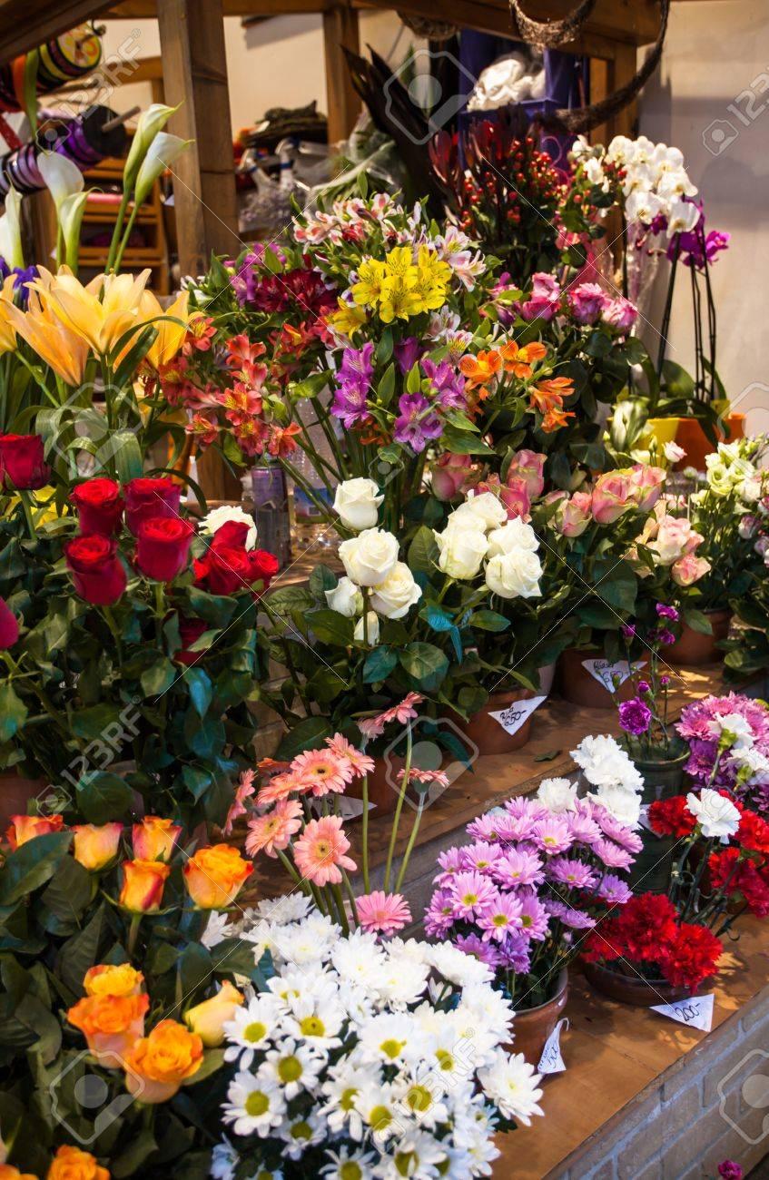 Flower market beautiful fresh flowers in vases for sale stock flower market beautiful fresh flowers in vases for sale stock photo 56629737 izmirmasajfo