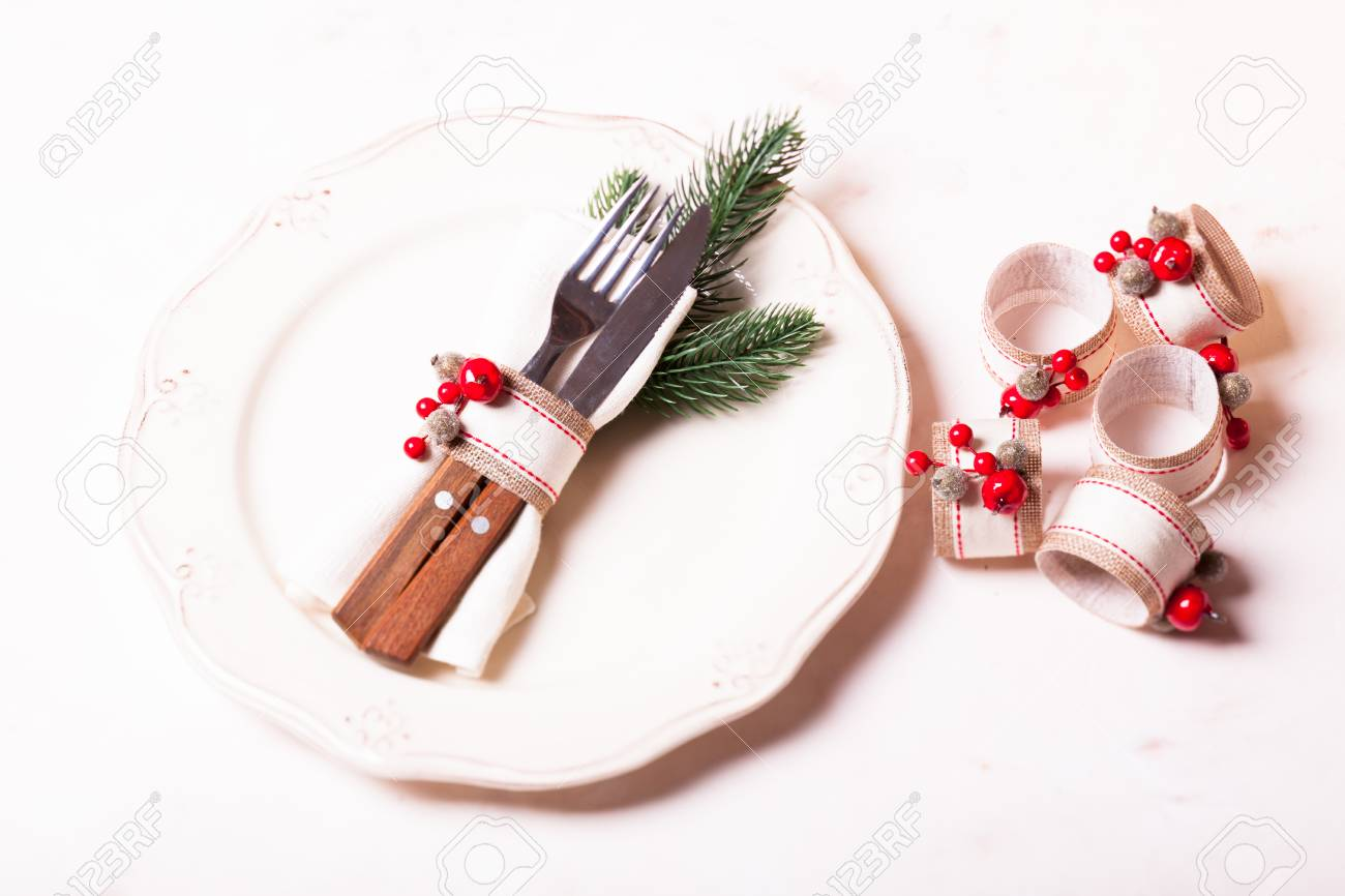 Christmas Napkin Rings For Holiday Table Serving Conceptual Stock Photo Picture And Royalty Free Image Image 67280988