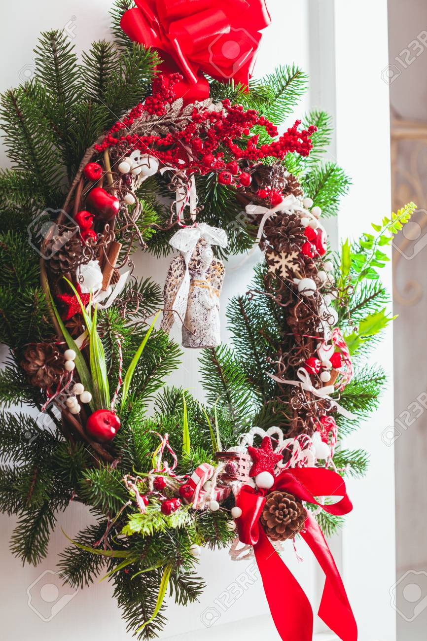Red And White Christmas Wreath Stock Photo Picture And Royalty Free