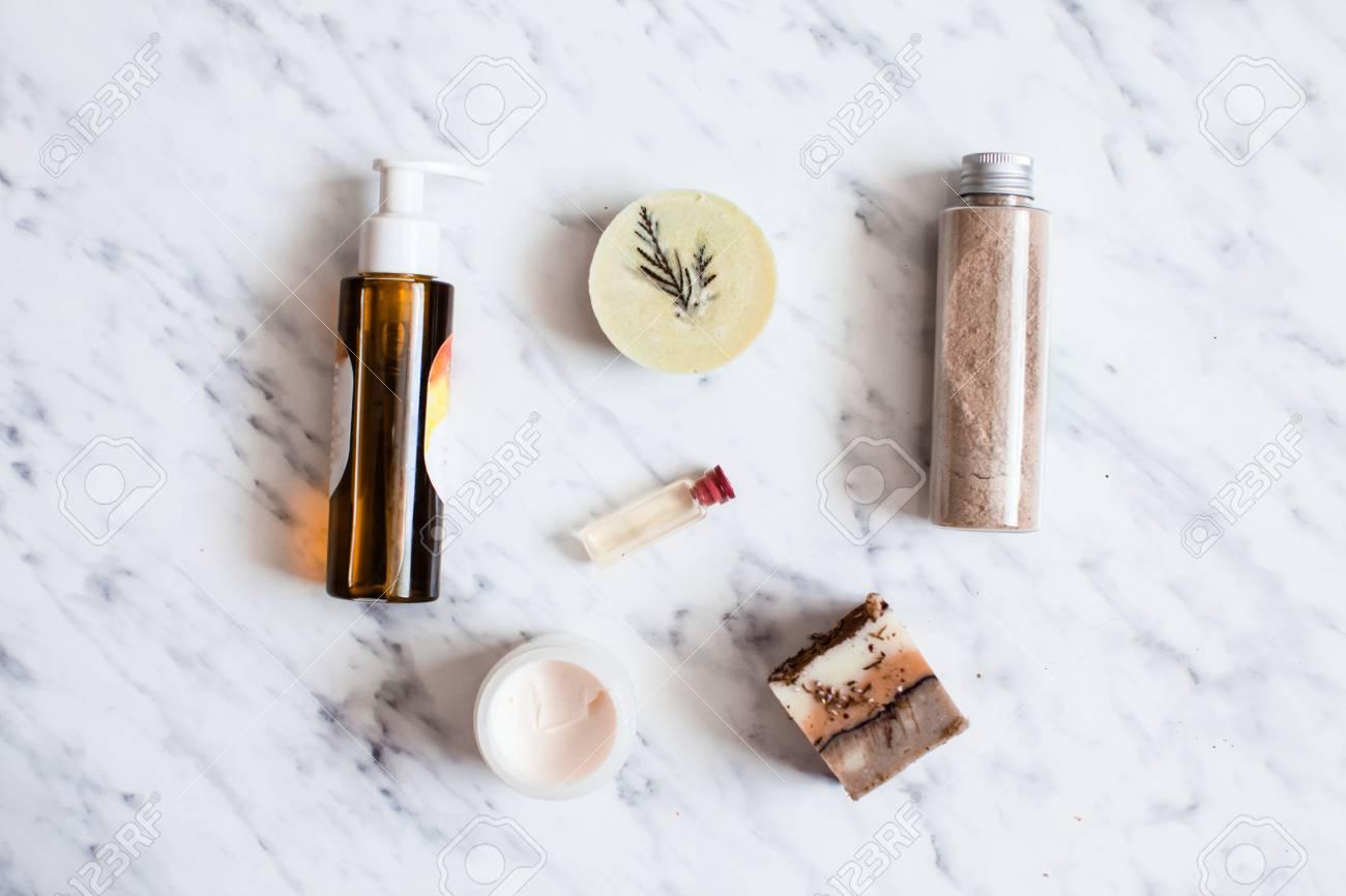 Organic cosmetic flat lay - 90456233