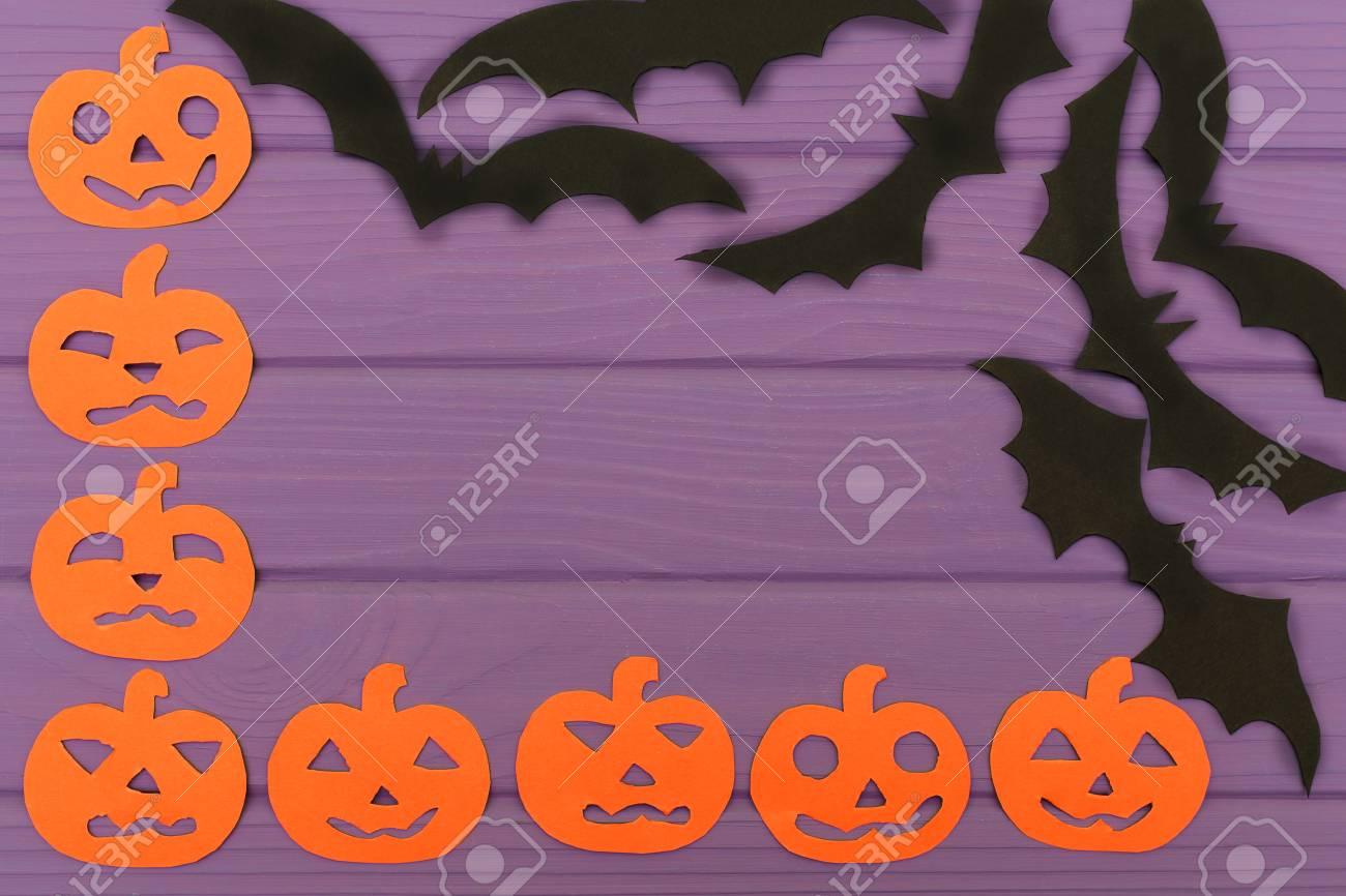 Halloween Eckrahmen Mit Kürbis Papier Silhouetten Und Fledermäuse ...