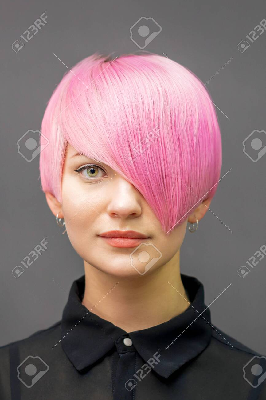 Portrait Of A Beautiful Young Caucasian Woman With Short Bright ...