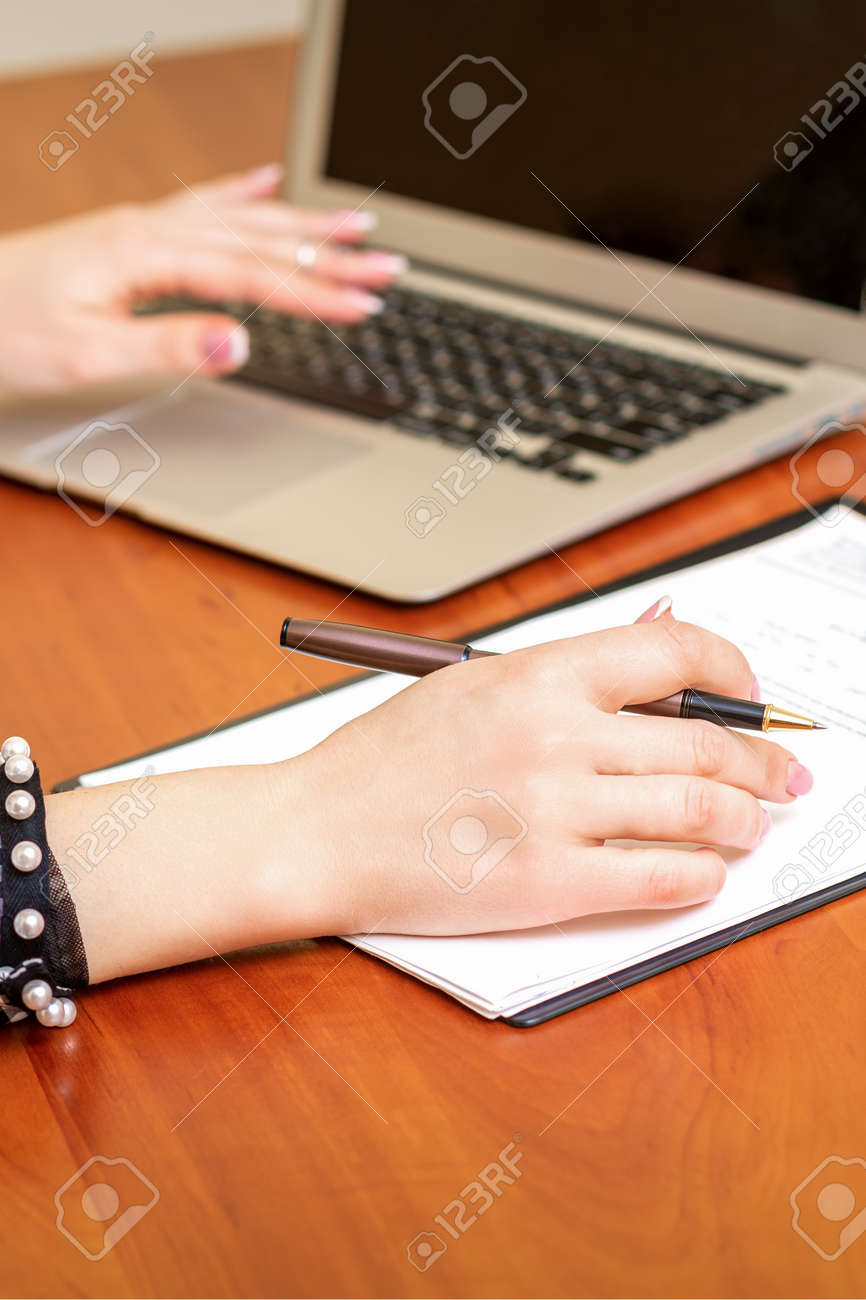 Female working with the documents - 165952098