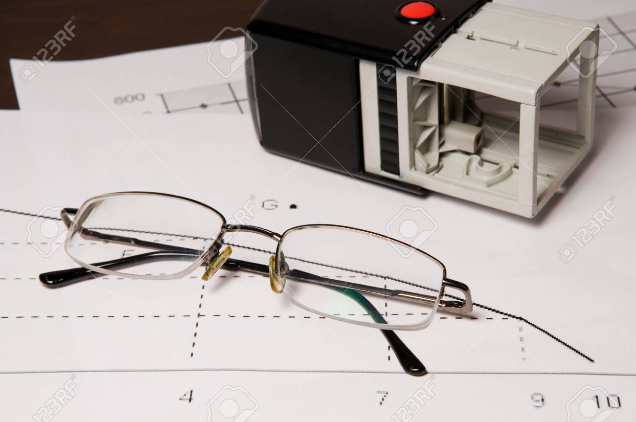 stamp and glasses on the graphic a arts of sales Stock Photo - 4324844