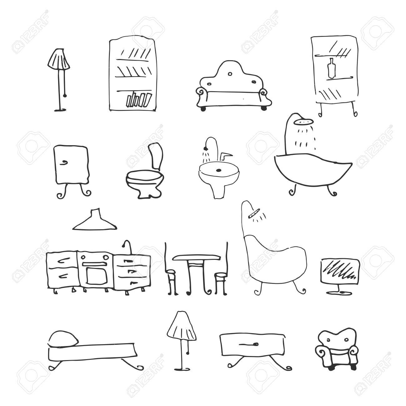 furniture set. hand-drawn vector illustration on white background - 125487899