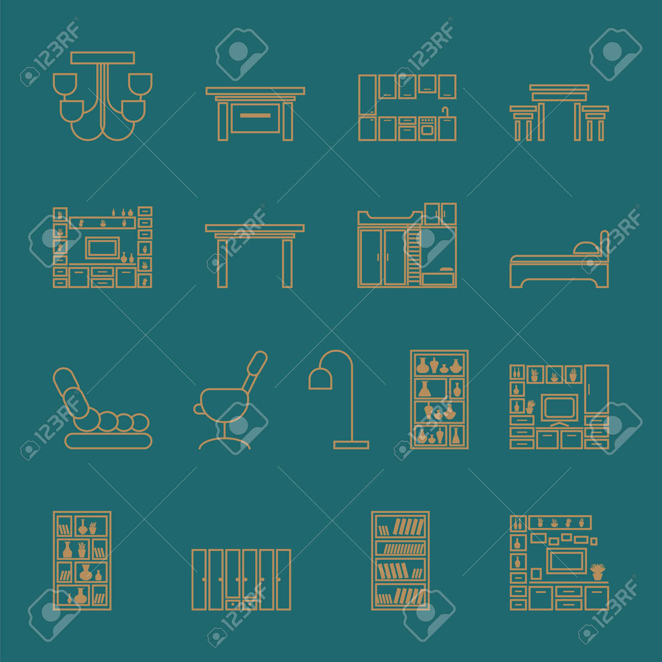 Furniture icons set. outline vector illustration on a turquoise background - 123416055