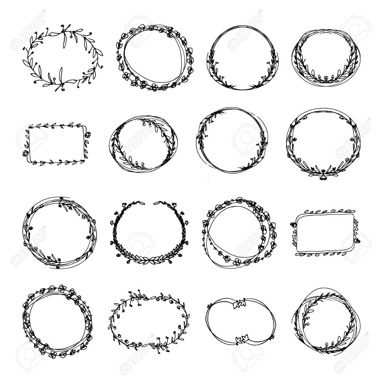 Hand drawn doodle floral frames set. black and white vector illustration - 122032625