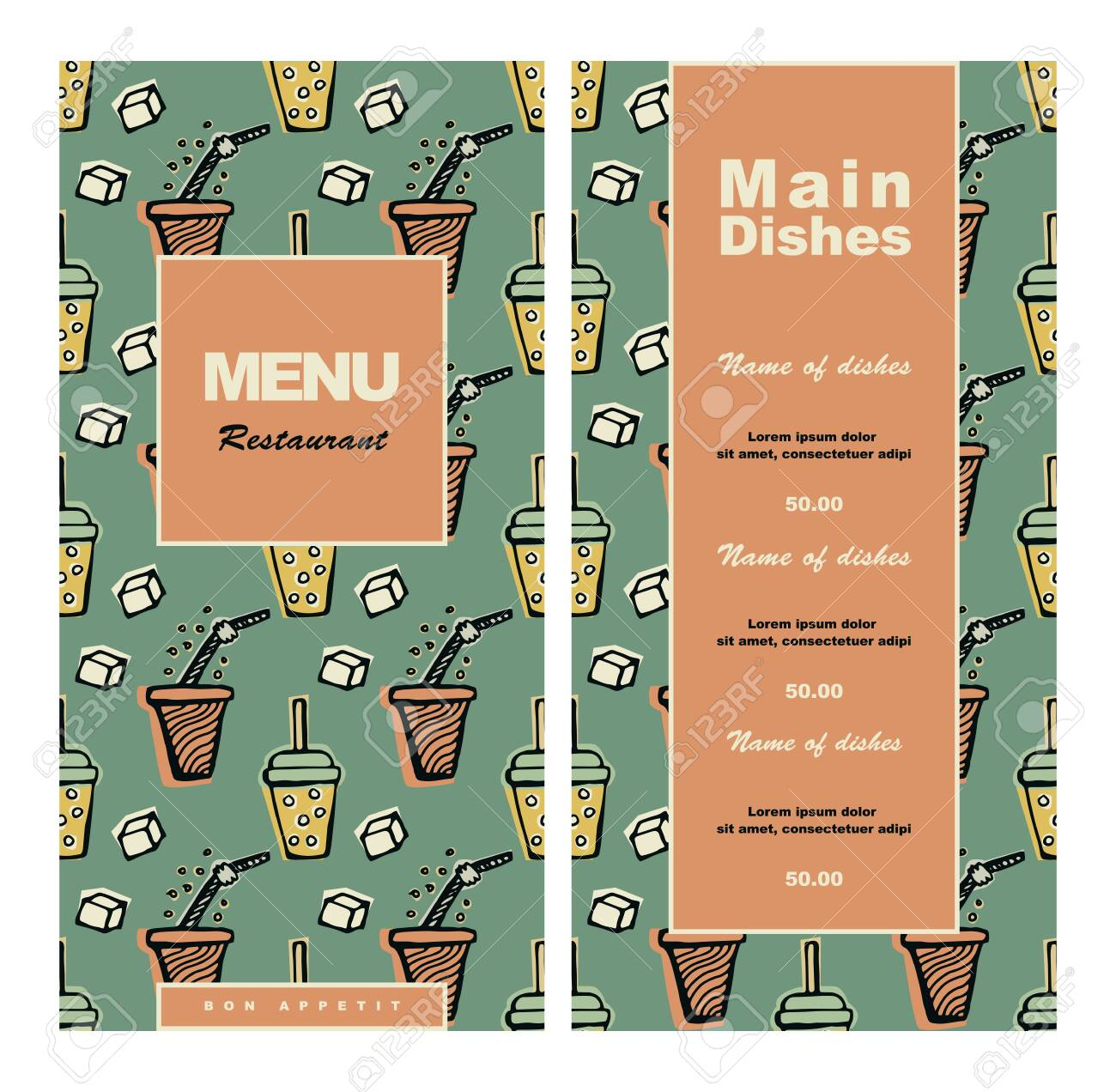 Menu Design For Cafe Coffee Shop Bistro Restaurant Hand Drawn Royalty Free Cliparts Vectors And Stock Illustration Image 128945817