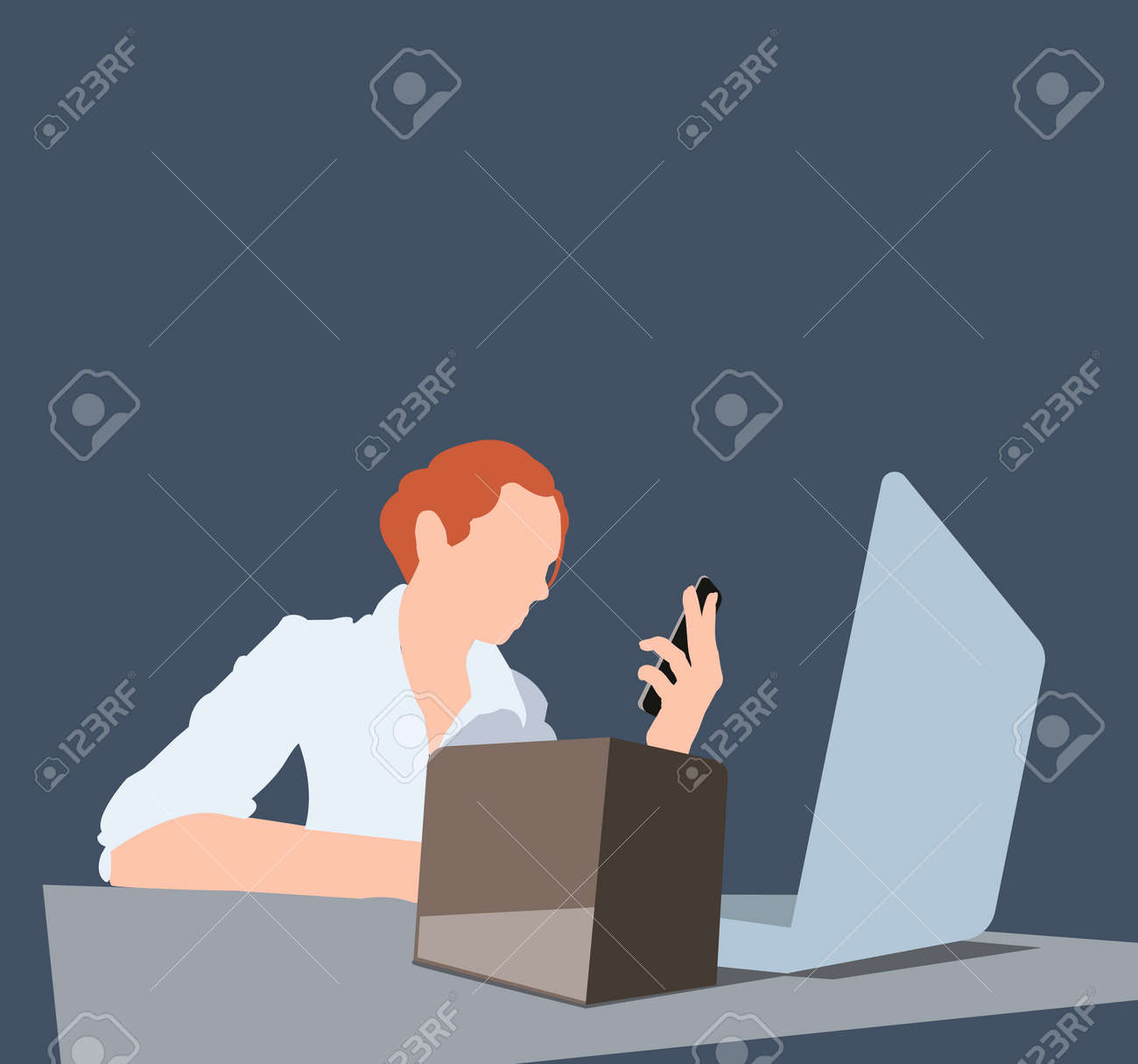 The girl works on a laptop. Workplace at the table. Vector color illustration. - 151747416