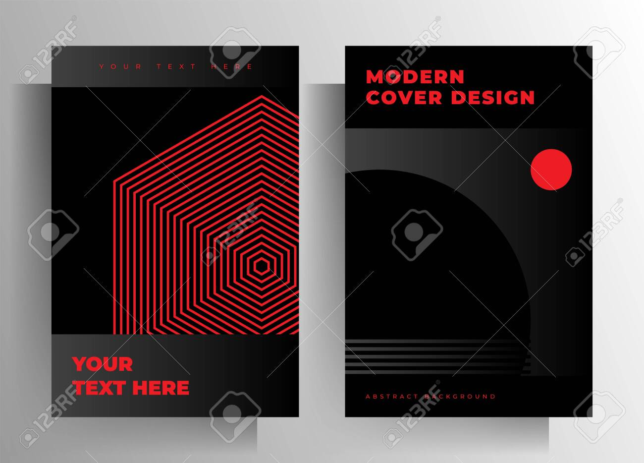 Cover for a book, magazine, brochure, catalog, booklet, poster. Geometric black and red design template set. - 153323584