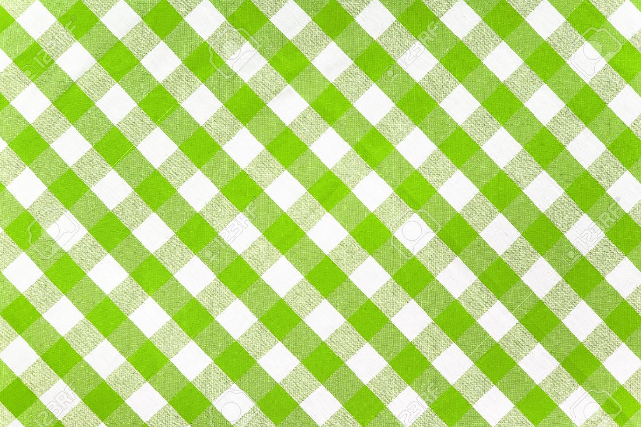 Green Checked Fabric Tablecloth Stock Photo   10933139
