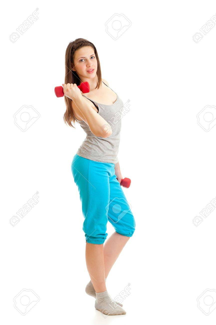 happy sport teenage girl with red dumbbell Stock Photo - 11913350