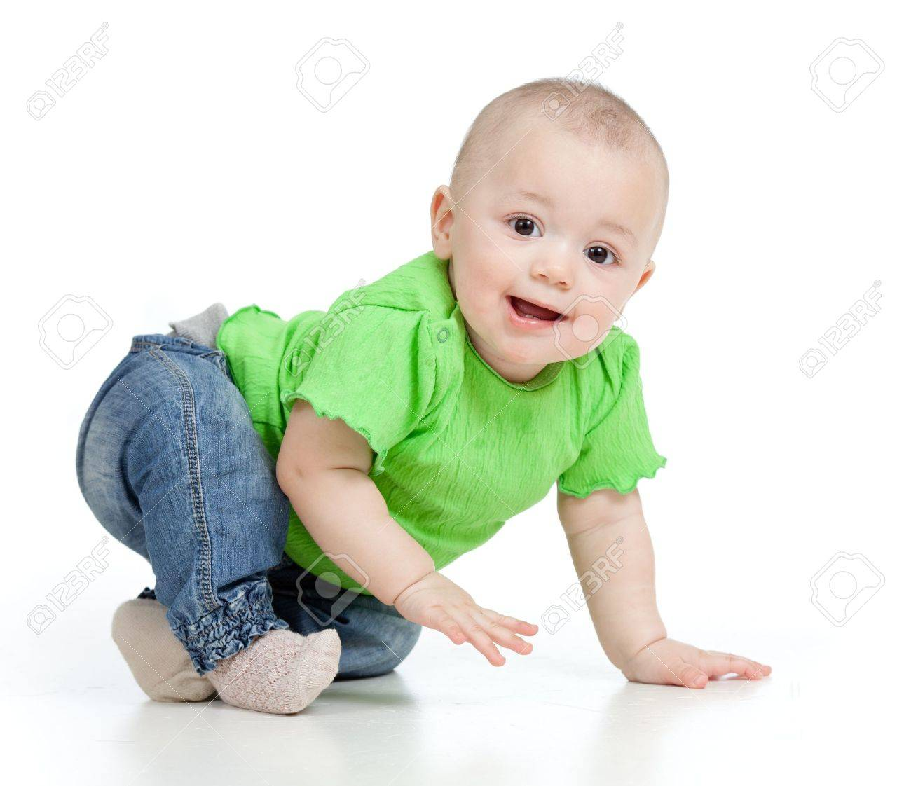 funny baby goes down on all fours Stock Photo - 12584242