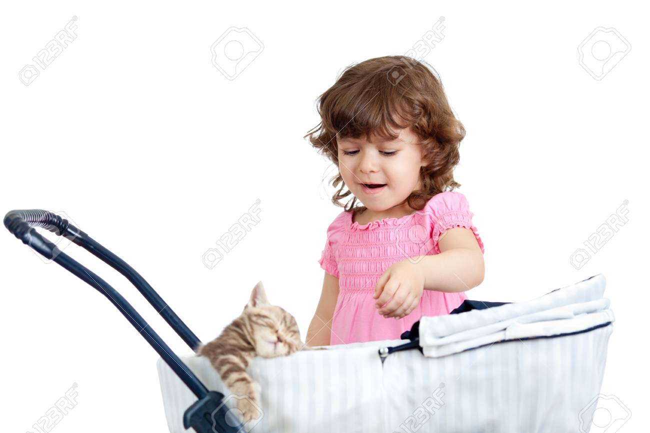 funny child playing with attractive kitten Stock Photo - 13401936